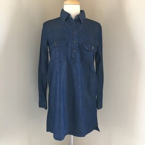 Forever 21 dark blue chambray button up dress S